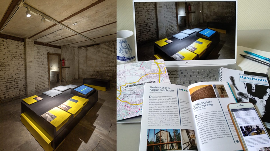 Ausstellungsraum der Gedenkstätte und Infomaterialien