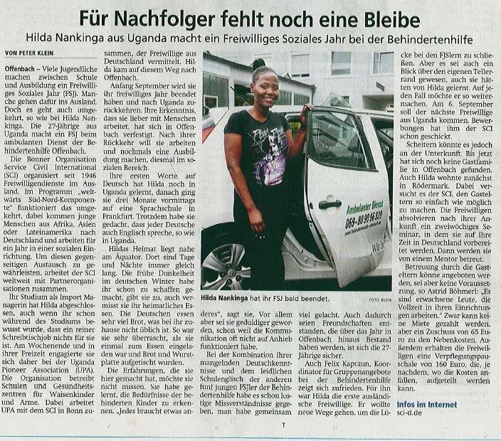 Zeitungsartikel in der Offenbach Post, 30.07.2019